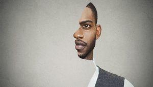 Fotografia surrealista de homem negro de perfil
