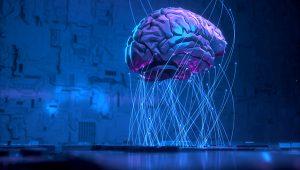 cérebro com conexões futurísticas