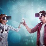 nova era onde mulher com traje uturístico usando óculos VR e homem também com óculos, onde seus dedos das mãos se tocam