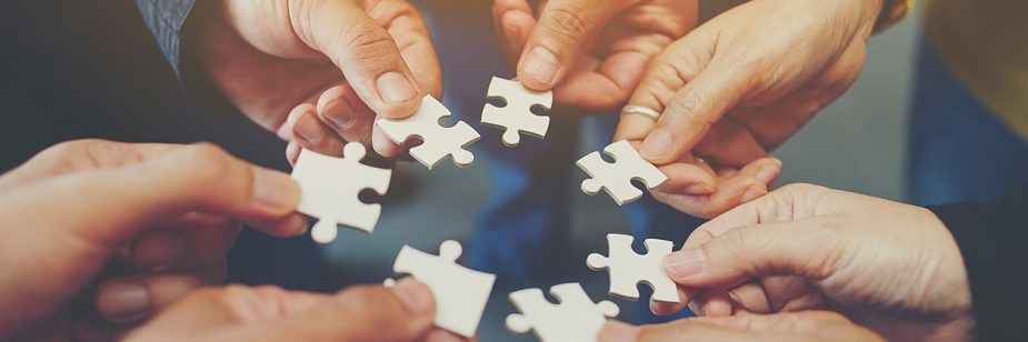 trabalho em rede horizontais - mãos diversas e próximas formando um círculo de forças